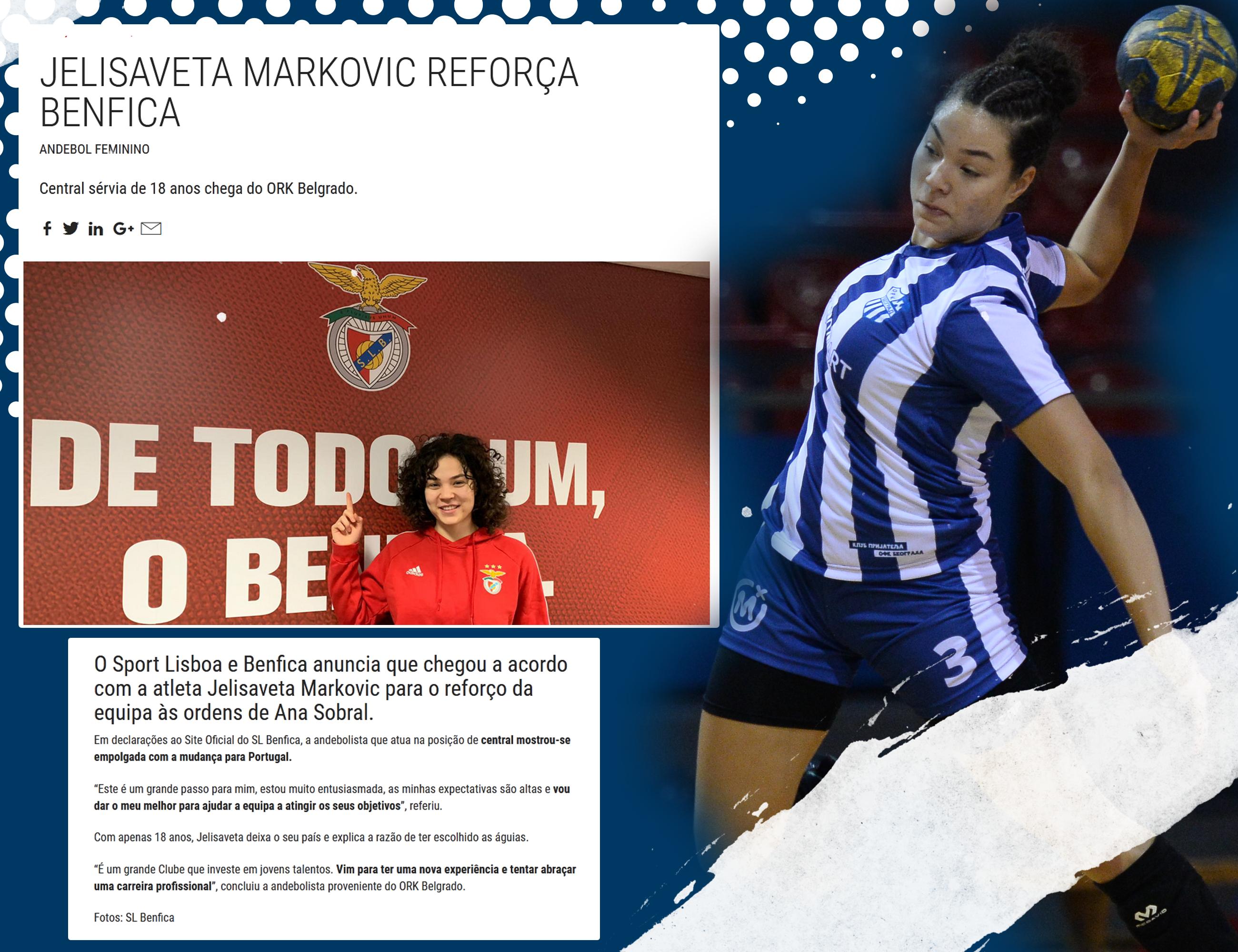 Igračica ORK Beograda rukometni put nastavlja u Portugalu. Nova destinacija, Lisabon – Benfika